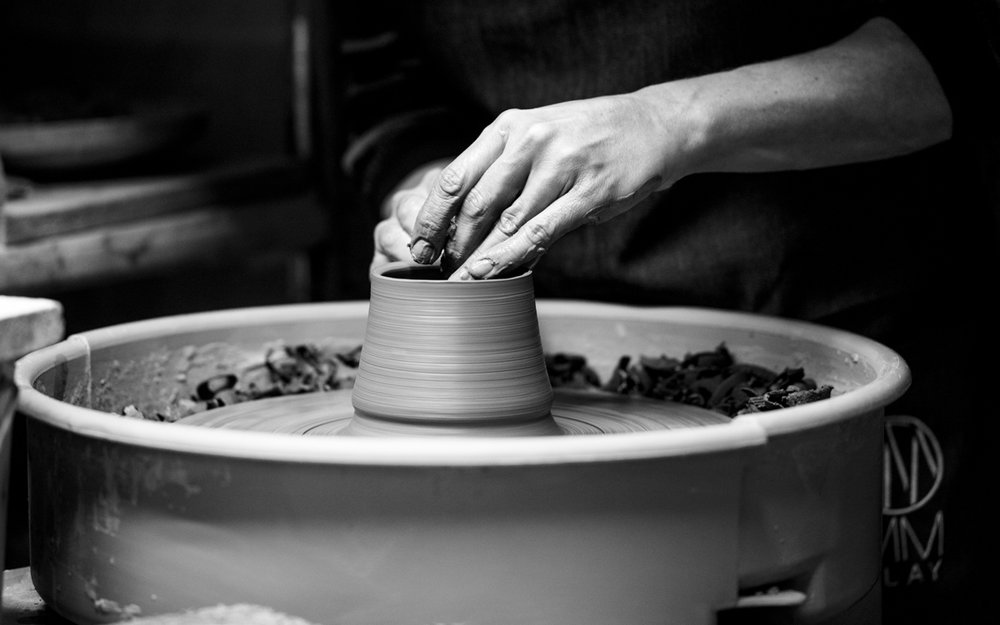 Land & Sea Cup  being shaped on the pottery wheel. Each one is wheel-thrown - never slip-cast!