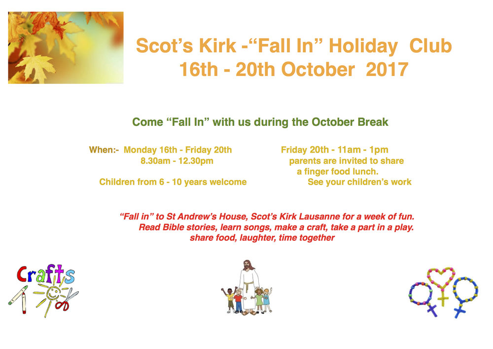 """Fall In"" Holiday Club for the October Break!!!  For details, click: flyer."