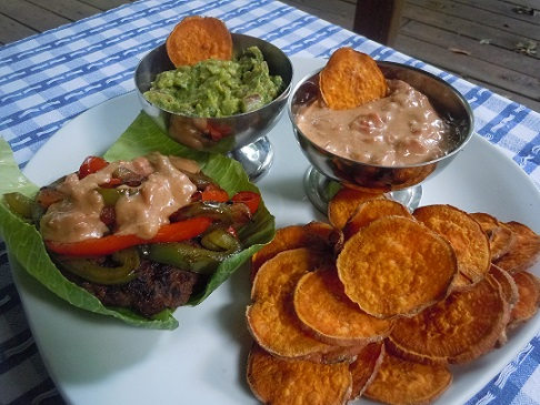 Fajita queso burger meal