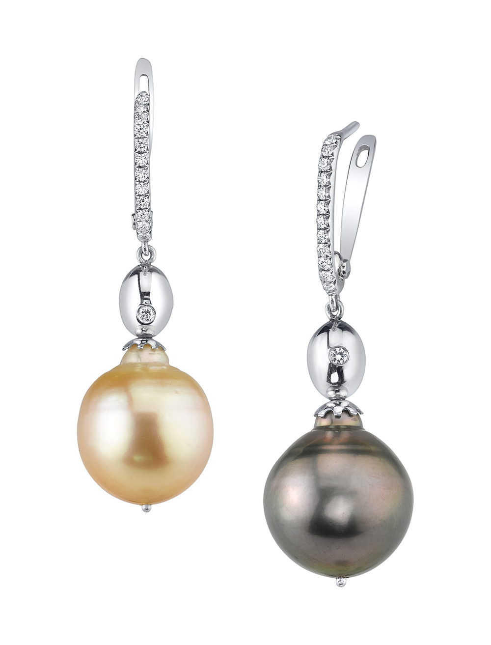 South Sea Day and Night Pearl Earrings, 18 Karat White Gold, accented with White Diamonds