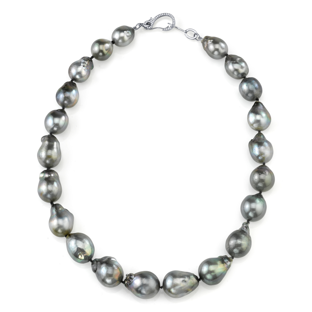 Baroque Tahitain Pearl Necklace, with an 18 Karat White Gold Diamond Clasp