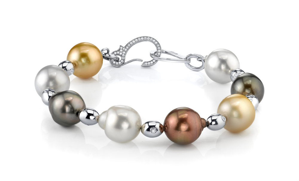 South Sea Pearl Bracelet, 18 Karat White Gold, accented with White Diamonds