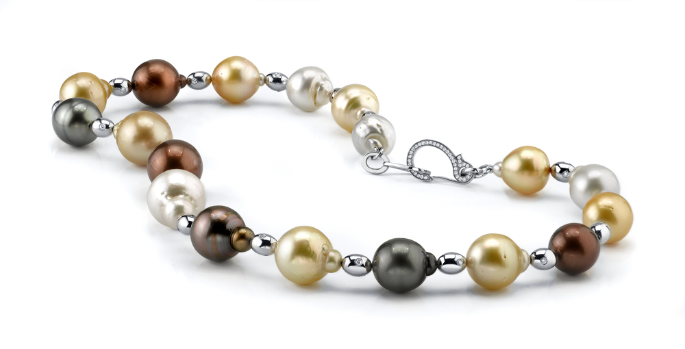 South Sea Pearl Necklace, 18 Karat White Gold, accented with White Diamonds