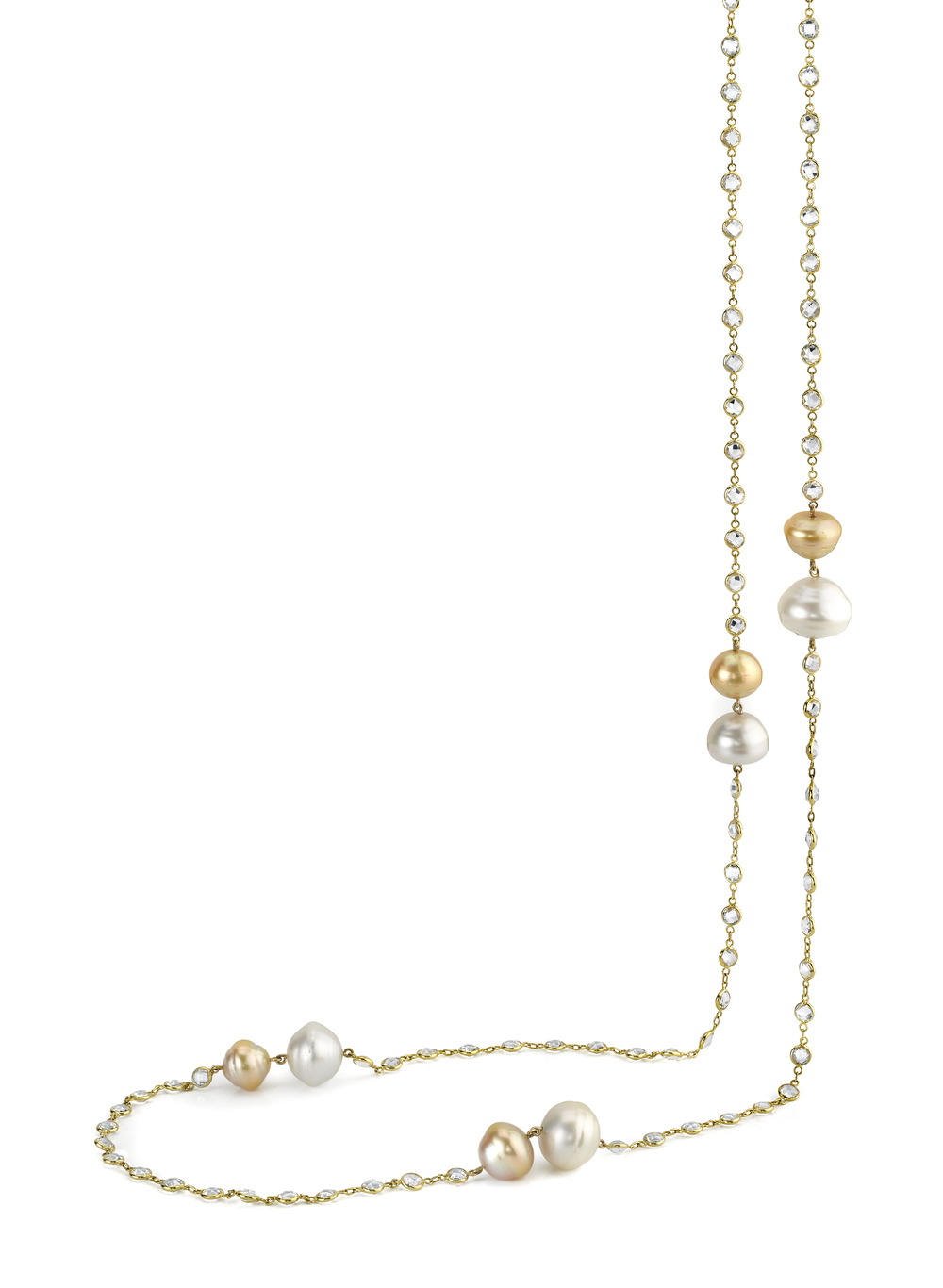 18 Karat Yellow Gold Necklace, accented with South Sea Pearls and White Topaz
