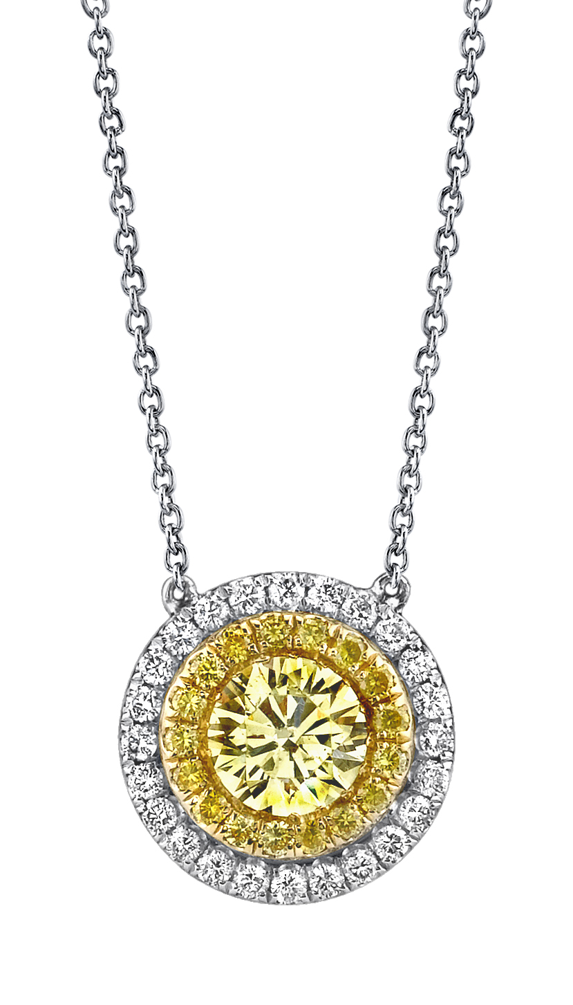 Fancy color diamonds michael barin fancy yellow diamond and platinum halo pendant accented with vivid yellow and white diamonds mozeypictures