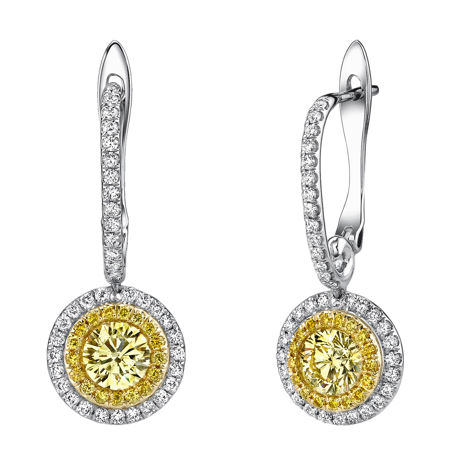 wh p stud diamond earrings yellow gold canary