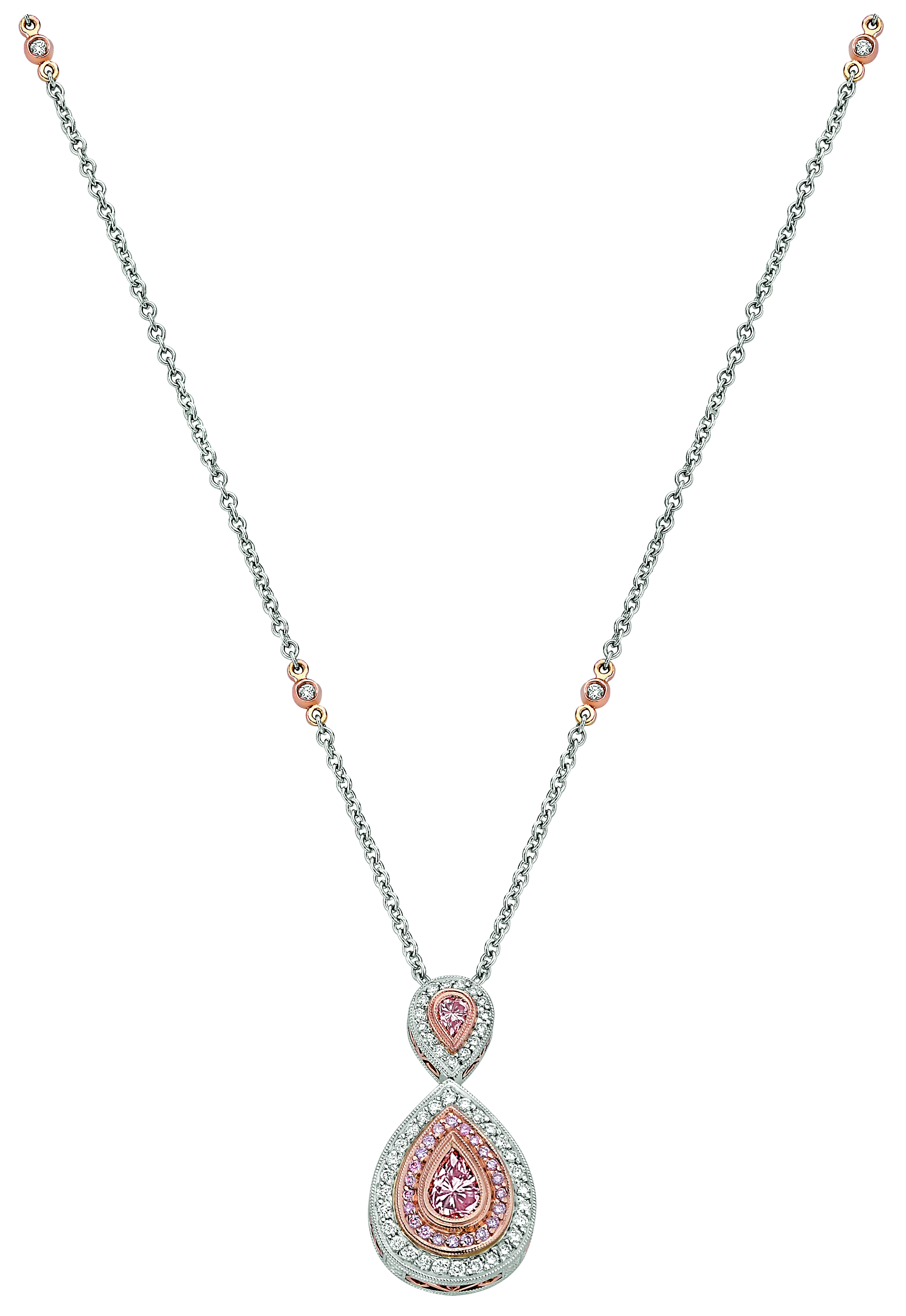necklace rose pd color with barin pink pear michael diamond shaped natural and karat accented gold diamonds fancy
