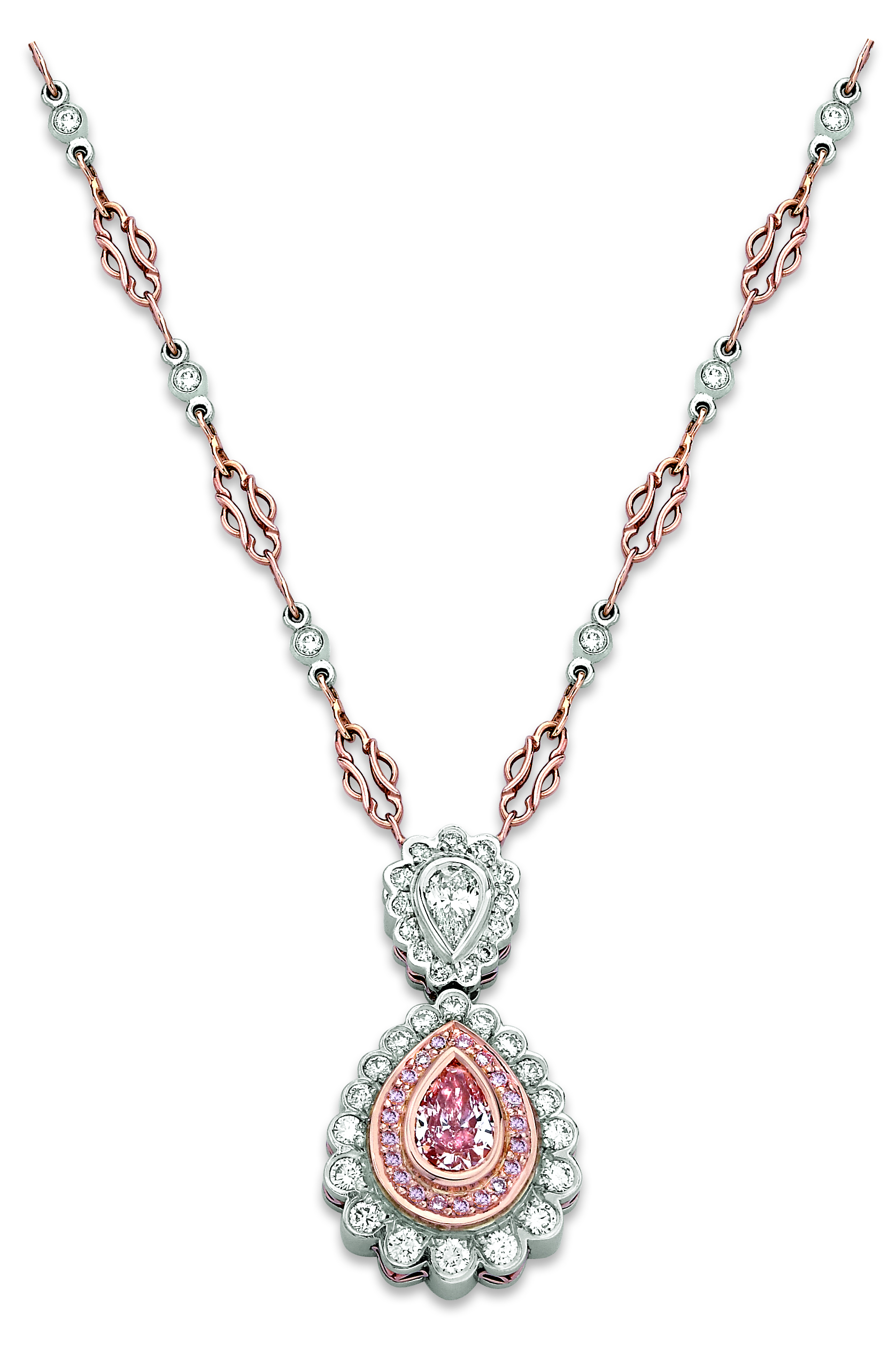 with pin three cushion horizontal shape fancy rectangular necklace diamond in platinum diamonds and shield