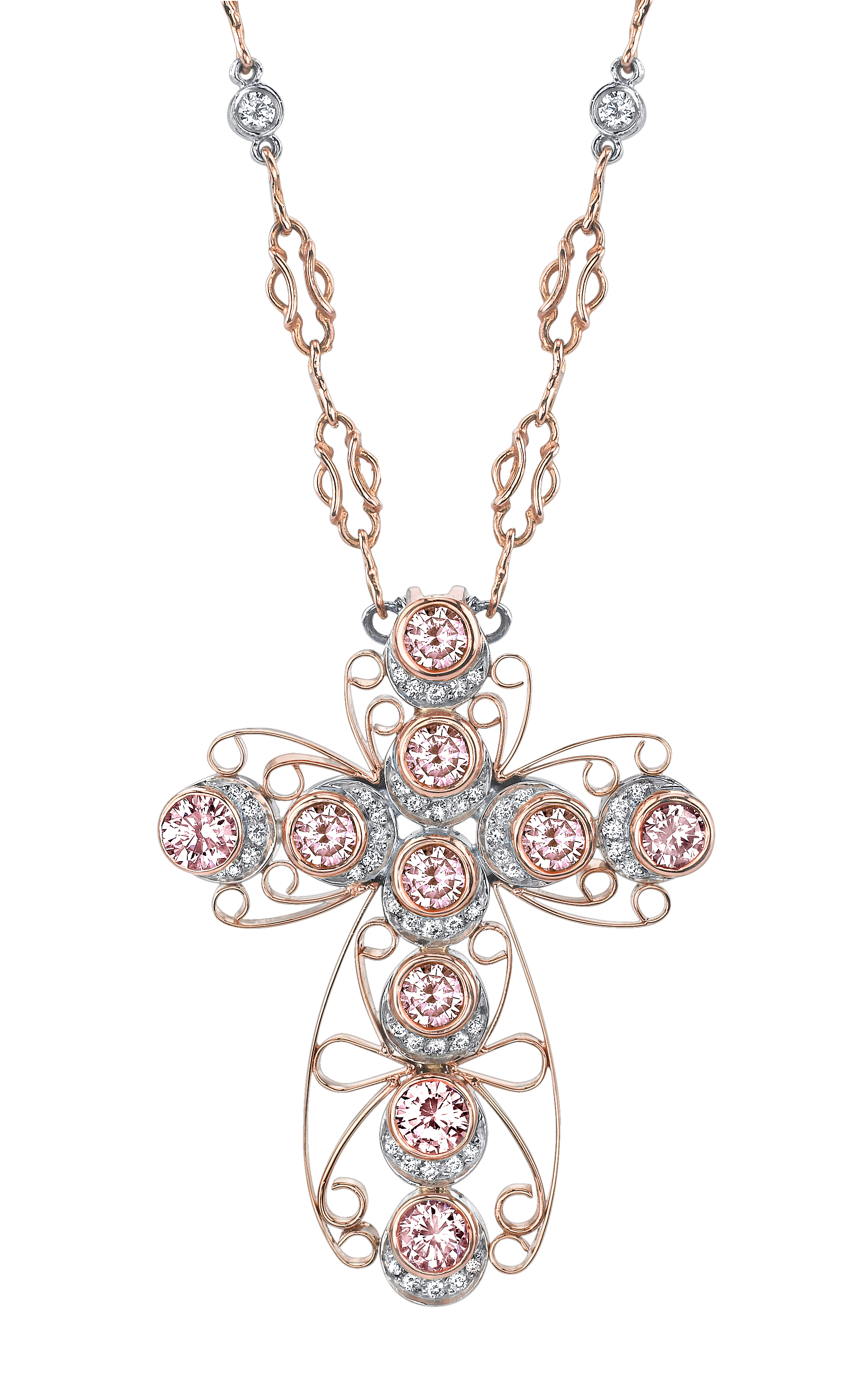 Fancy color diamonds michael barin platinum and 18 karat rose gold pink and white diamond pendant hanging from hand fabricated mozeypictures Choice Image