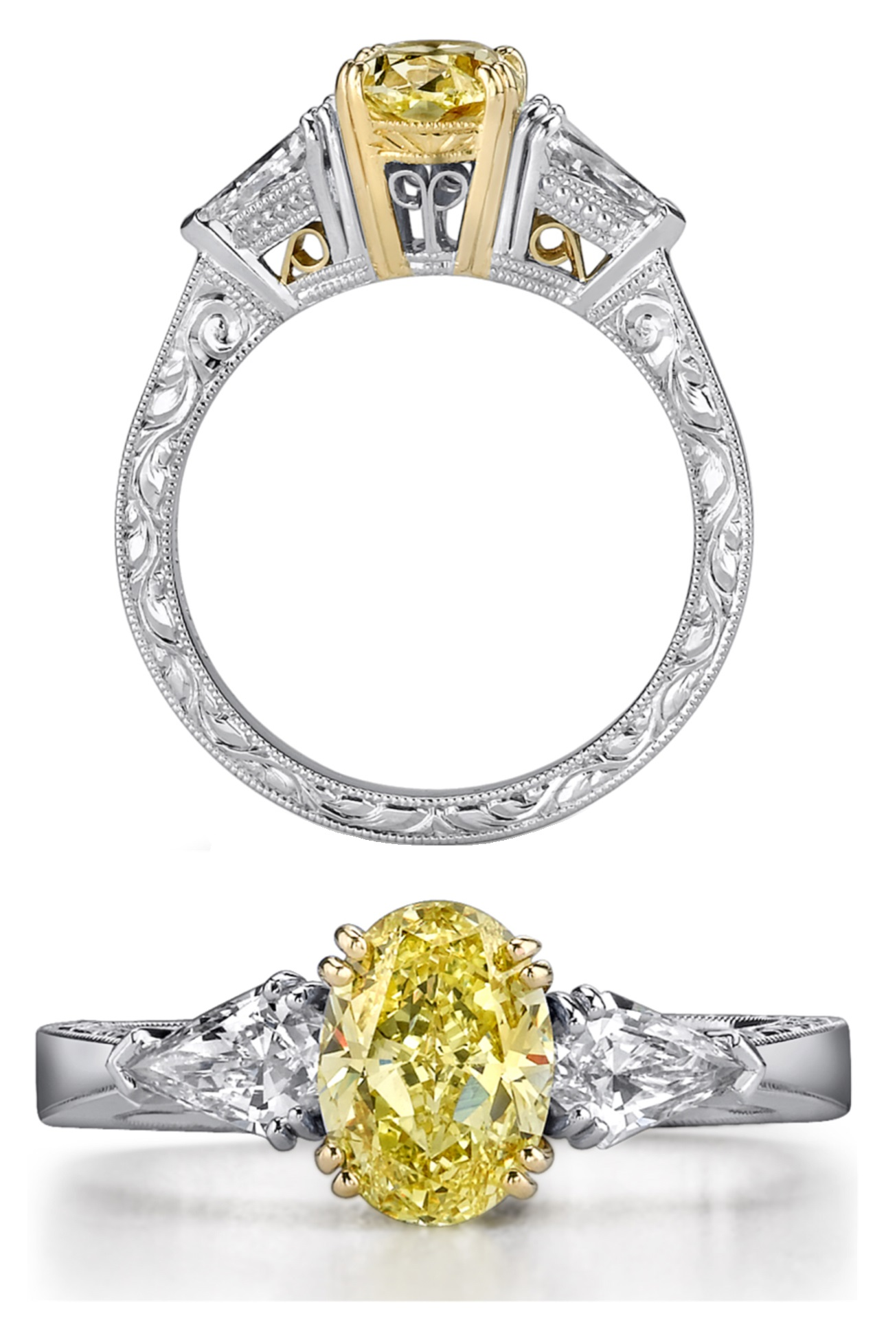 ring yellow and engagement canary colorless diamond picture rings stone of