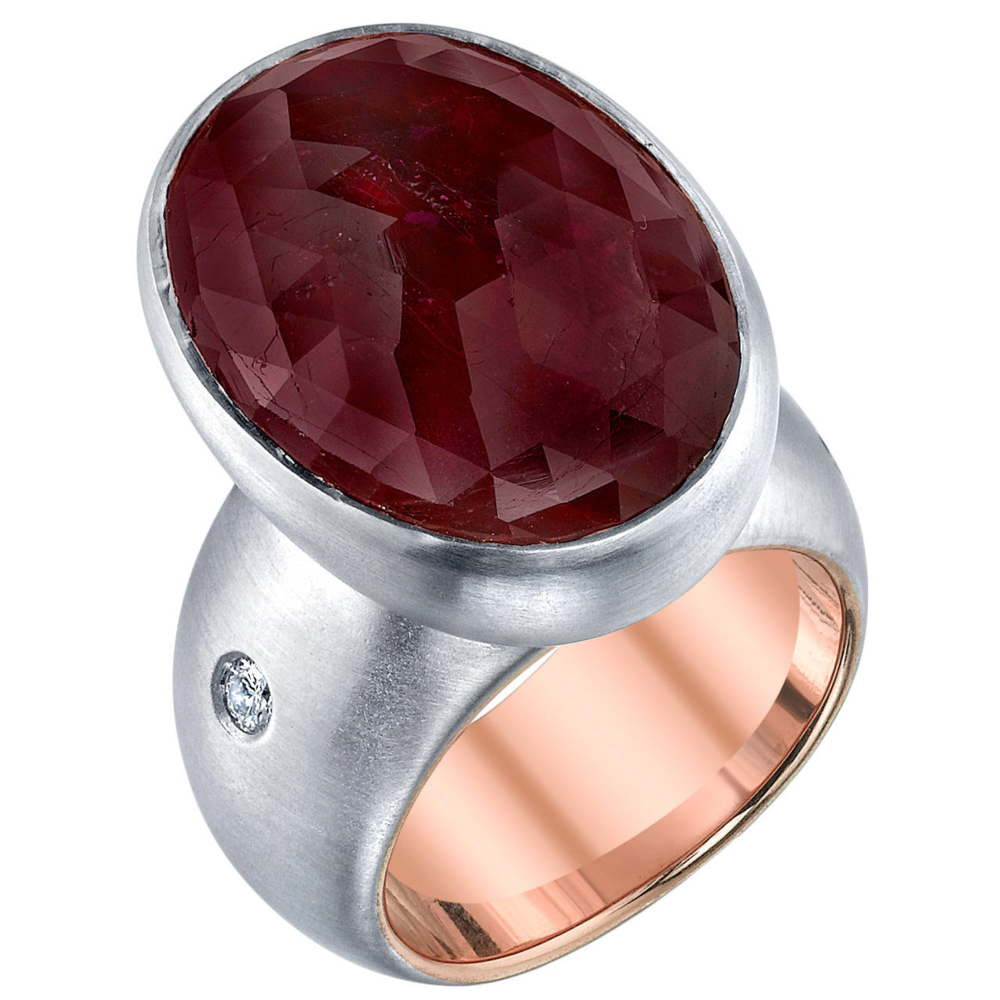 18 Karat White Gold, 18 Karat Rose Gold, and 10.27 CT Ruby Slice Ring, accented with 0.15 CT Diamonds .
