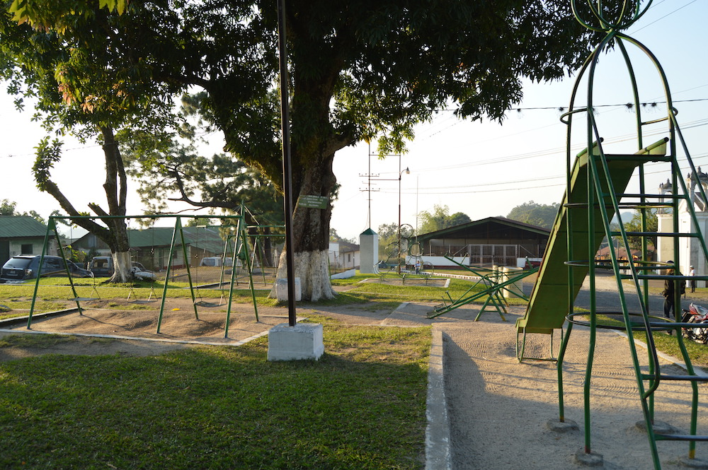 Children's playground at the center of the farm