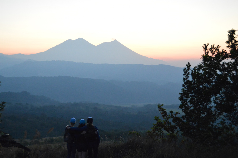Volcano sunrise over Finca San Jerónimo Miramar