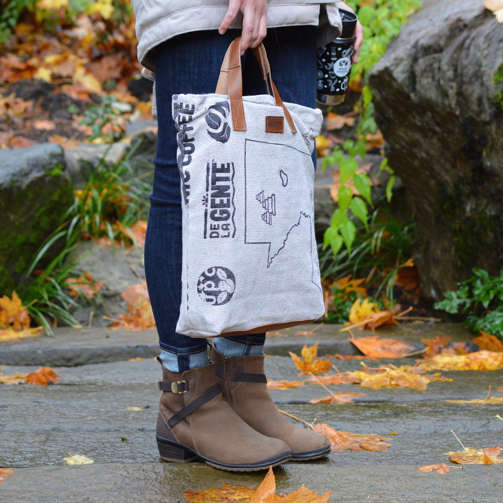 A tote bag by KEEN made from upcycled coffee sacks from the New Denim Project.
