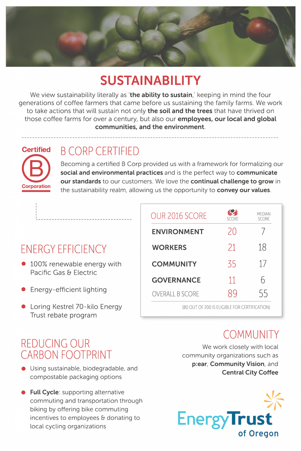 Sustainability and B Corp Certification at Nossa Familia Coffee
