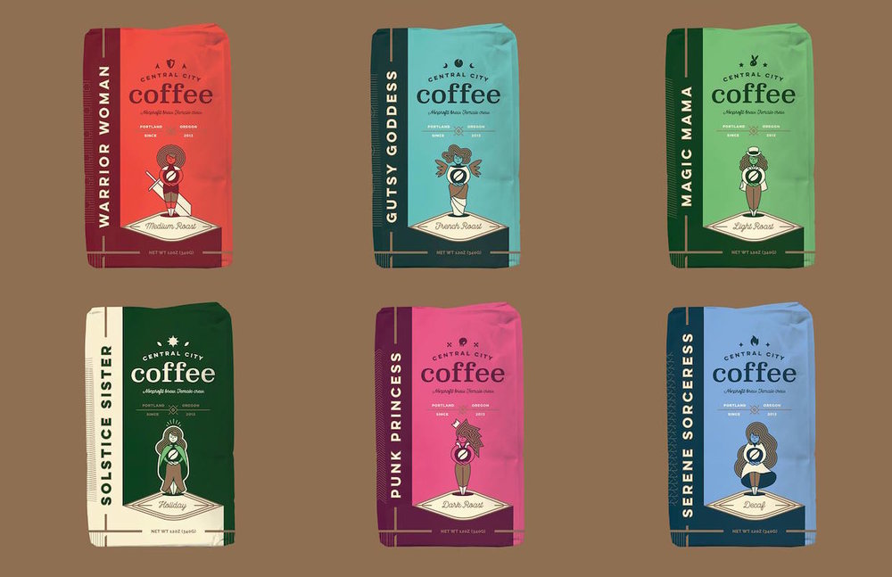 Full line of Central City Coffee designed by Murmur Creative in Portland, Oregon