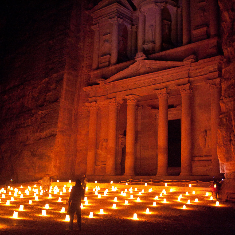 The Treasury at Night, Petra, Jordan