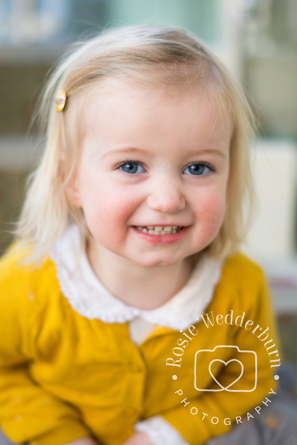 This little girl looks beautiful in a mustard yellow cardigan, but bright colours can be unflattering.  The block of yellow here works because it is broken up with a sweet, scalloped collar.