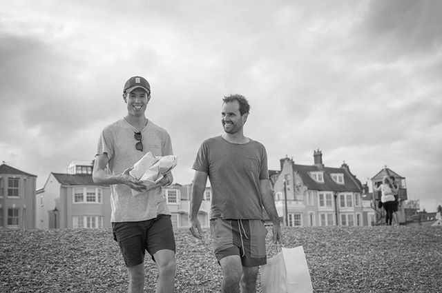 🐟 & 🍟 on the beach with friends. I'm hard pushed to think of anything better than this. • • • • • #beachlife #fishandchips #aldeburgh #summer #holiday #blackandwhitephotography #staycation #beach #thisisengland #suffolk #photography