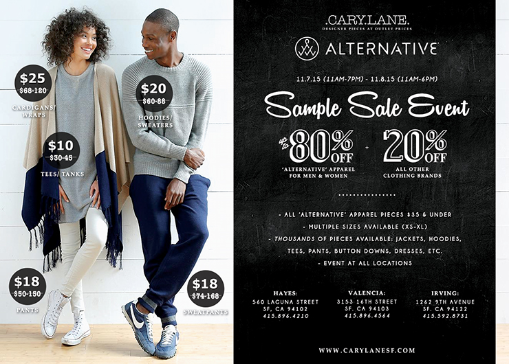 Alternative Apparel Sample Sale Event — Cary Lane
