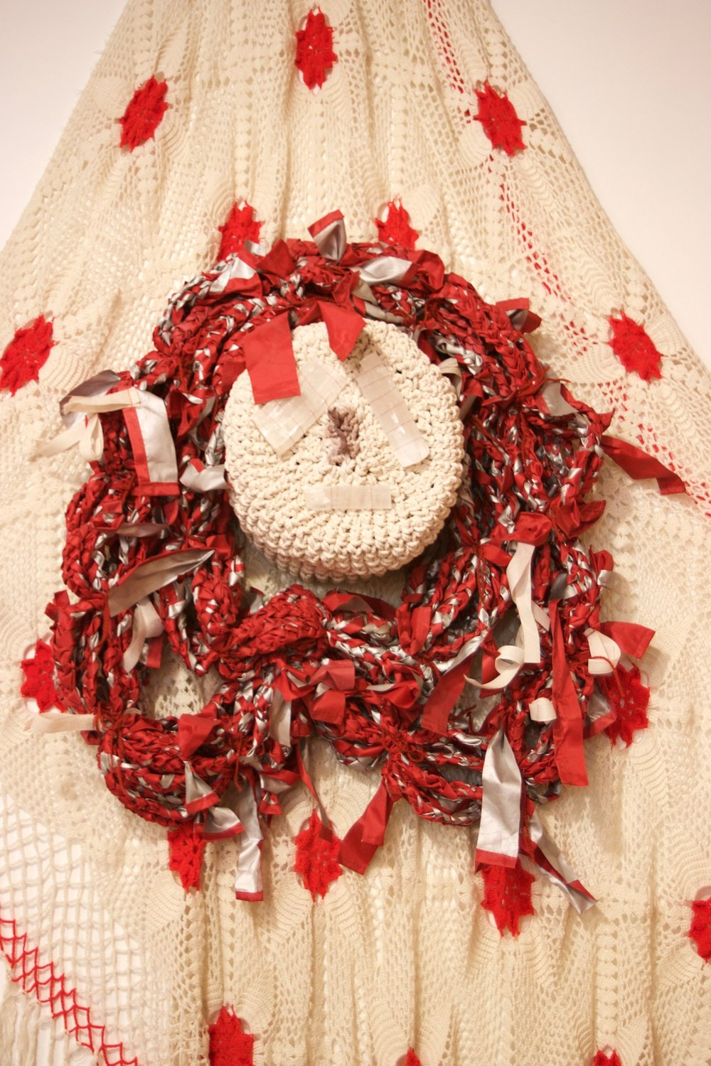 This is a Red Tent , mixed textiles, selenite crystals, blood, variable dimensions