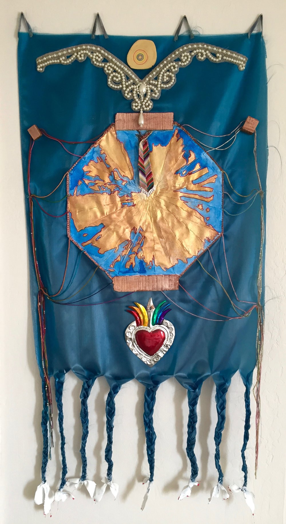 Banner , fabric, velvet, pearl appliqué, pearl beads, wood, found metal heart, embroidery floss, paint, 17 1/2 x 36 inches