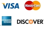We gladly accept Visa, Mastercard, American Express and Discover