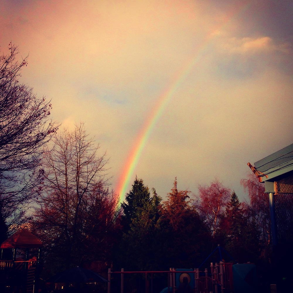 The weather in Seattle has been a bit wacky...this week has been dry.  But last week it was rain then sun constantly...which made for some very pretty rainbows!  This shot was taken from Parker's school playground when I picked her up one day.