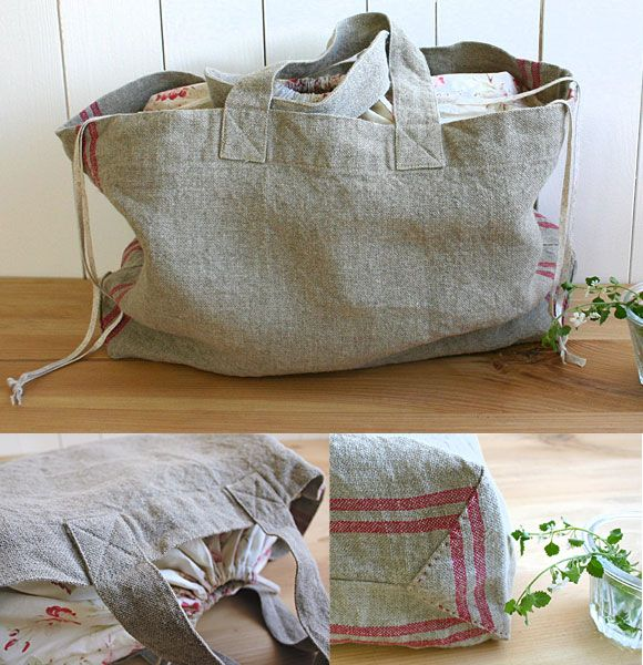 And this fantastic drawstring linen bag to go with that top above.  I can throw all my pool loot in there, bring it to summer farmers markets (that I never go to)...I'm just envisioning myself waltzing around in that top with this pretty bag on my shoulder!  from here