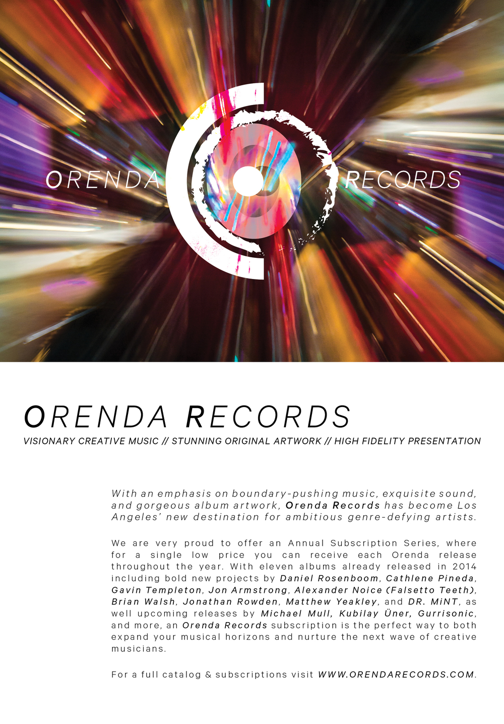 Orenda Records Company Literature