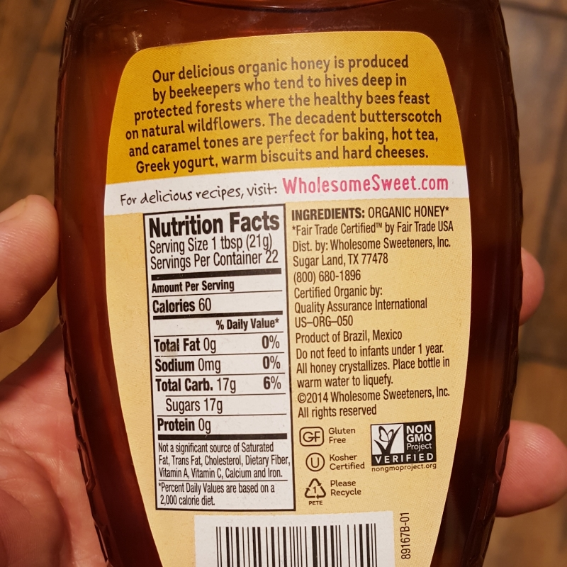 Organic honey from Mexican or Brazil