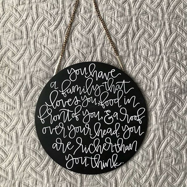 "occasionally we all need a reminder to put it all back in perspective and be grateful for everything we have  this sweet 12"" hanging chalkboard can be yours! $20"