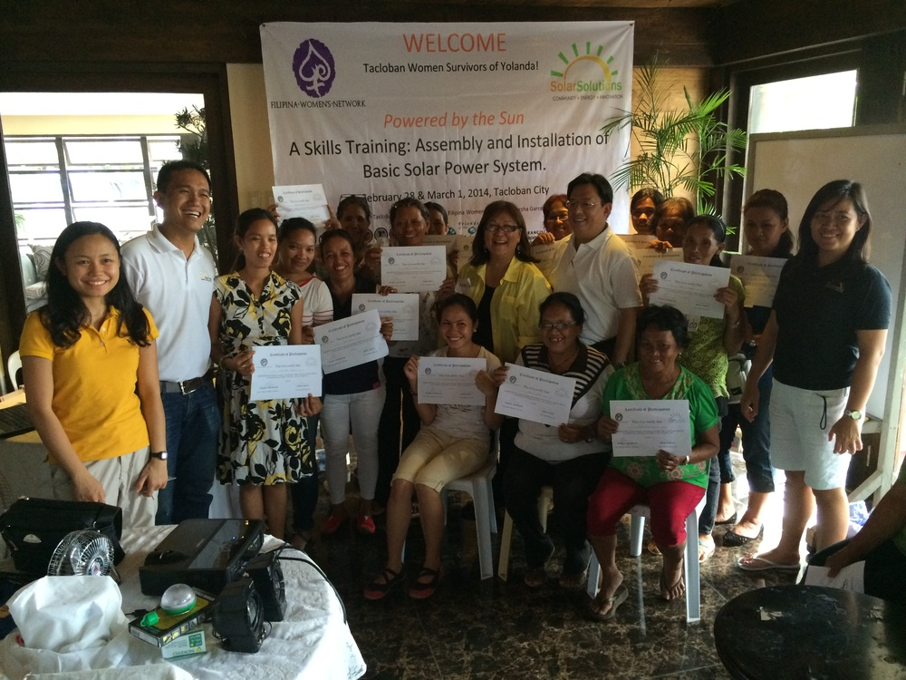First Group of Solar Training Graduates with Marily Mondejar, Tacloban City Councilor Jerry Uy and SolarSolutions Trainers