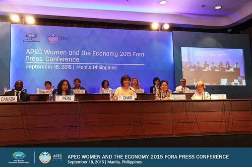 Photo shows Undersecretary Nora K. Terrado (front row, middle) reading the Women and the Economy Statement as the other Heads of Delegation listen in. Image Credit: http://apec2015.ph/