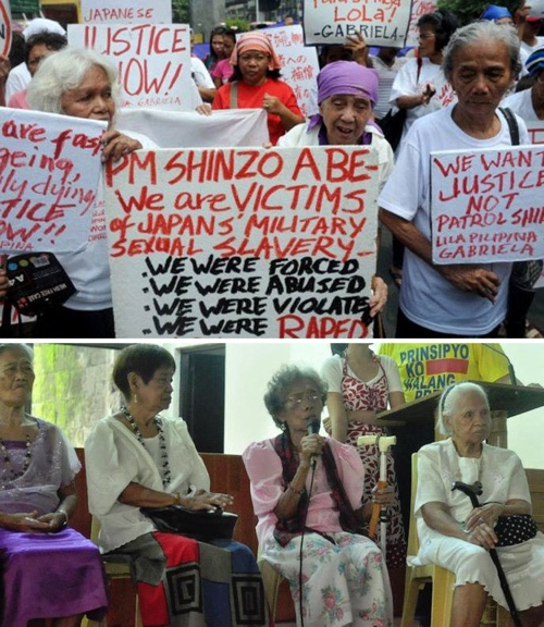 Top photo: Gabriela rally at Japanese Embassy in Manila. (Photo credit: Inquirer.net) Bottom photo: Lila-Pilipina members on Araw ng mga Lola in Philippine High School for the Arts. (Photo credit: Inquirer.net)