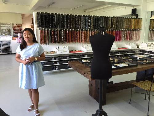 Marketing Manager Alice Uypuanco leads a tour of the Materials Library at the Research & Development Department of Kor Landa Corp., a French-owned manufacturing company of high-end fashion accessories and jewelry. Kor Landa employs over 20 designers and model makers, many of which are women.