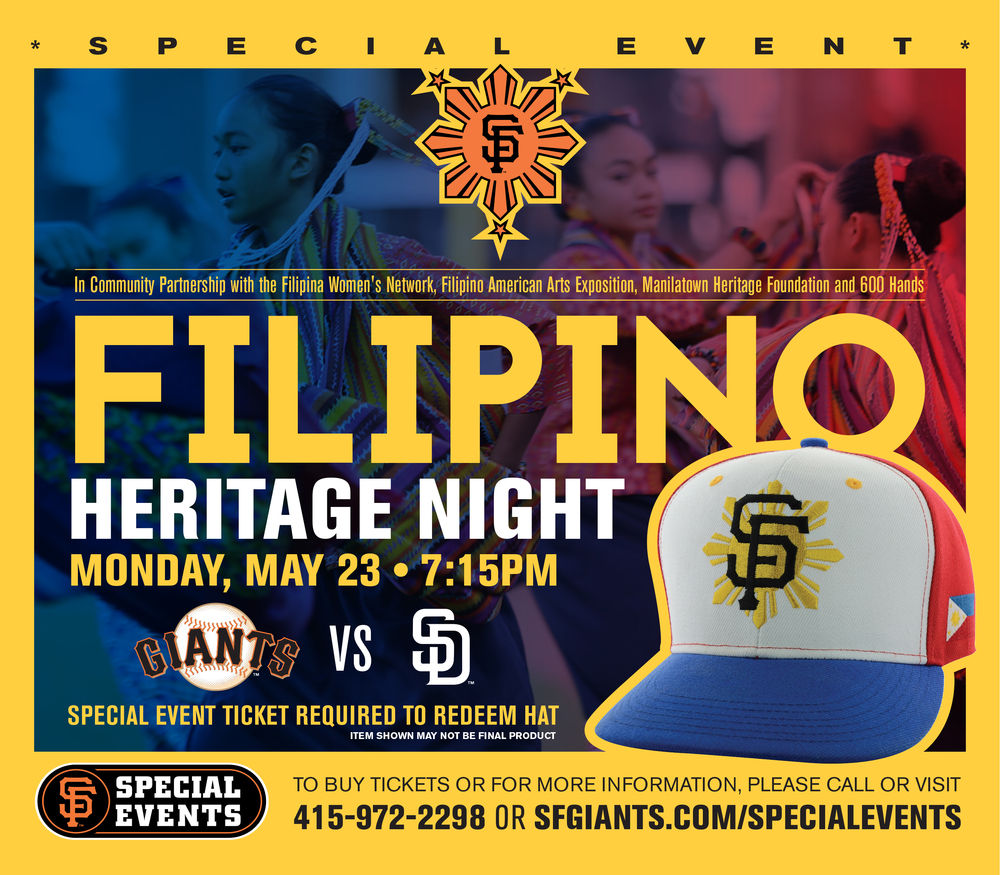 Plan ahead!  Catch  Filipino Heritage Night 2  on September 13th. Giants vs. SD Padres!