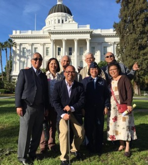 The Filipino delegation to the History-Social Science Subject Matter Committee (SMC) of the Instructional Quality Commission (IQC) in Sacramento led by Bataan Legacy Historical Society executive director Cecile Gaerlan and Filipino American Arts Exposition President Al Perez, among others. (Left-Right) Rick Villarina, Cecilia Gaerlan, Manuel Bella, Al Perez, Gemma De Ocampo, Robert Hansen, Ray Cordoba and Jeanette Adi. CONTRIBUTED PHOTO. Courtesy of  The Inquirer.net