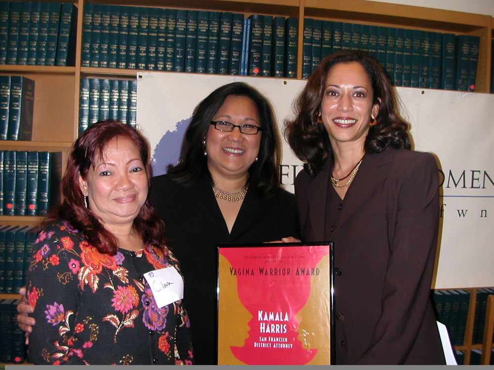 District Attorney Kamala D. Harris presented with the Vagina Warrior Award by FWN CEO, Marily Mondejar (center) in 2005. Pictured with Clara Tempongko (left), mother of Claire Joyce Tempongko.