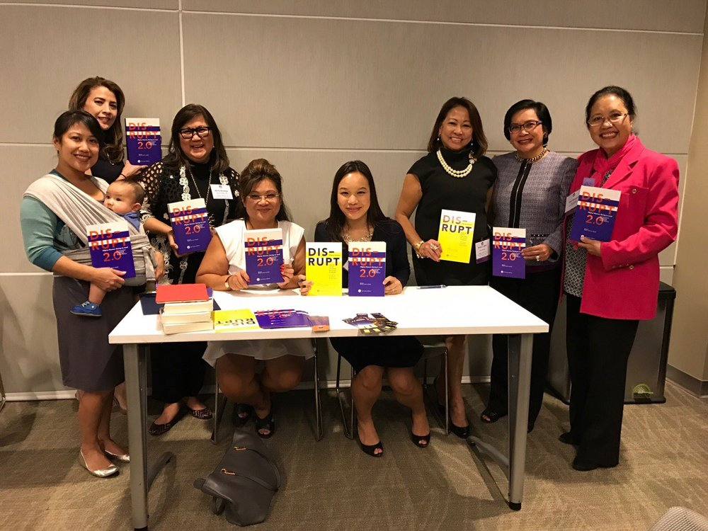 #FilipinaDISRUPTERs converge at DISRUPTing SF to celebrate FWN's second book on Filipina Women Leadership. (L-R): FWN's California Influentials and DISRUPT 2.0 authors: Michelle Florendo (Global FWN100™ '15) pictured with newborn baby Milo, Gizelle Covarrubias Robinson (former FWN Board Member),  Marily Mondejar (CEO & Founder, FWN), Elizabeth Bautista (Global FWN100™ '15), Melissa Orquiza (Global FWN100™ '15), Sonia T. Delen (U.S. FWN100™ '07, Global FWN100™ '13), Thelma Boac (U.S. FWN100™ '07, Global FWN100™ '13), Elena Mangahas (U.S. FWN100™ '07, Global FWN100™ '13) at Charles Schwab on Oct. 6, 2016. Not pictured: Nimfa Gamez (US FWN100™ '07 and Global FWN100™ '15)