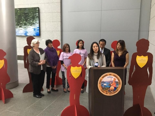 Supervisor Katy Tang shares the strides that the SF Board of Supervisors have made to end violence against women at the Capitol Building, Oct. 17, 2016.