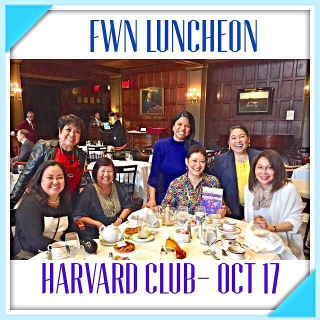 Filipina Women's Network members converge at NYC's Harvard Club on October 17. Left to right: Marina Fe Durano (Global FWN100™ '16), Dr. Thelma Reyes (Guest of Dr. Mutya San Agustin Shaw), Dr. Mutya San Agustin Shaw (U.S. FWN100™ '07, Global FWN100™ '13), Jopin Romero (Global FWN100™ '16), Judy-Arteche Carr (U.S. FWN100™ '09, Global FWN100™ '14), Jocelyn Bernal Ochoa (U.S. FWN100™ '07) Emma Imperial (Global FWN100™ '15, '16)