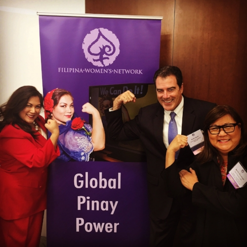 The Face of Global Pinay Power Francine Maigue (Global FWN100™ '15) stands proud and strong with Brett Good, Senior District Director, Robert Half International and Marily Mondejar, Founder & CEO, Filipina Women's Network at last week's DISRUPTing San Diego event, Oct. 13.