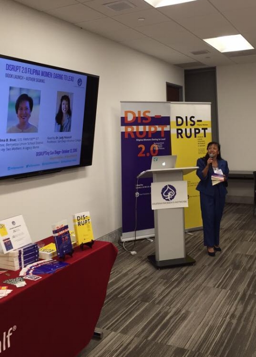 "Dr. Judy Patacsil of the Filipino American National Historical Society (FANHS) reads Thelma Boac's chapter ""From my Two Mothers: A Legacy Borne"" in celebration #FilipinoAmericanHistoryMonth. Two educators, two daughters of WWII veterans- kindred spirits indeed!"