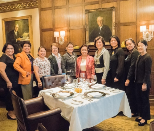Ambassador Albert (Global FWN100™ '14) shared her views on President Duterte's Administration and the South China Sea / West Philippine Sea dispute with FWN MeetUp New York attendees Friday, October 21 at the Princeton Club. Members present include Judy Arteche-Carr (US FWN100™ '11, Global FWN100™ '14), Jocelyn Bernal Ochoa (U.S. FWN100™ '07), Loida Nicolas Lewis (U.S. FWN100™ '07, Global FWN100™ '13), Lenore RS Lim (U.S. FWN100™ '09), and guests Thelma Reyes, Noemi Diaz, Salette Romero-Paz and Malu Zebinato.