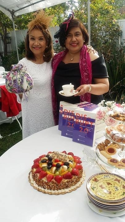 Rocio Nuyda and Stella Bernabe at the FWN Sunday Afternoon Tea on October 30, 2016