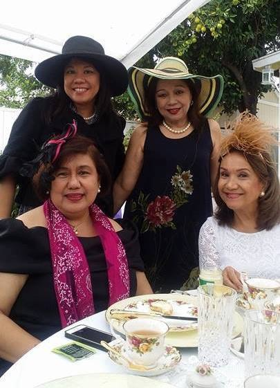 Rocio Nuyda and Stella Bernabe (seated) pictured with Benel Se-Liban (U.S. FWN100™ '11) and guest at the FWN Sunday Afternoon Tea on October 30, 2016
