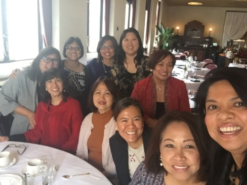 Standing: Marily Mondejar, Rosalie Say, Hazel Dolio Tag-at (Global FWN100™ '15), Mylene Juan. Seated: Wilma Cayahom, Gilda Mangahas, Gertrude Gregorio (US FWN100™ '09). In front of Mylene Juan: Sonia Delen (U.S. FWN100™ '07), Norie Castro, Jopin Romero (Global FWN100™ '16)