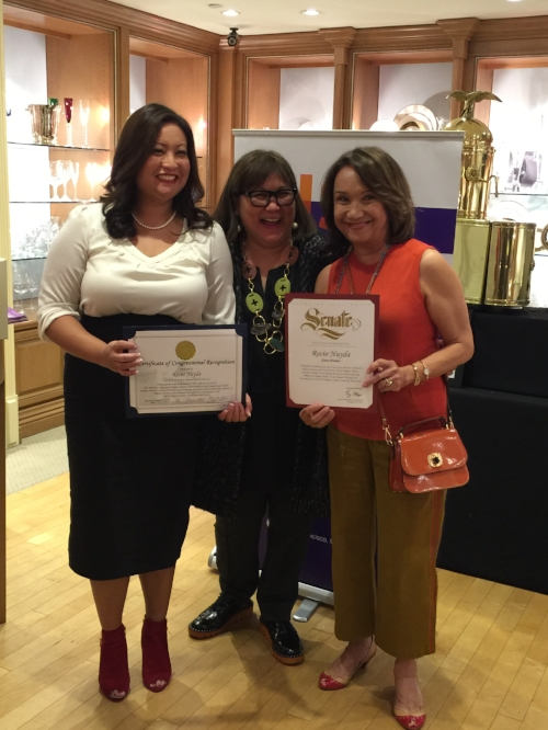 FWN Member Melissa Ramoso (Global FWN100™ '14) presents a Certificate of Recognition from California State Senator Bell Allen, 26th District and Congressional Recognition from Ted W. Lieu, Member of California Congress 33rd District to Rocio Nuyda, DISRUPT 2.0 Author (U.S. FWN100™ '12 and Global FWN100™ '16). Pictured with Marily Mondejar, CEO & Founder (center) at DISRUPTing Beverly Hills on December 10, 2016.