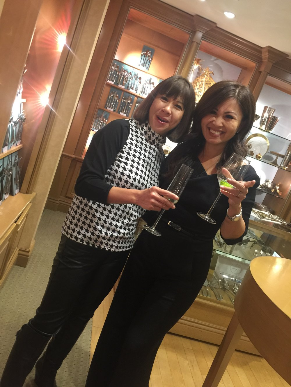 Mary Lou Ty Garcia (Global FWN100™ '16) and guest Kalika Yap enjoy champagne at DISRUPTing Beverly Hills hosted by Geary's.